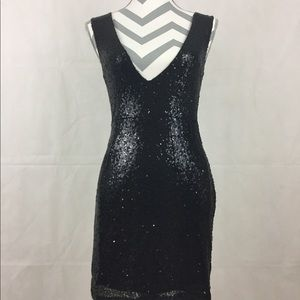 Tobi Small Deep VNeck Black Sequin Dress